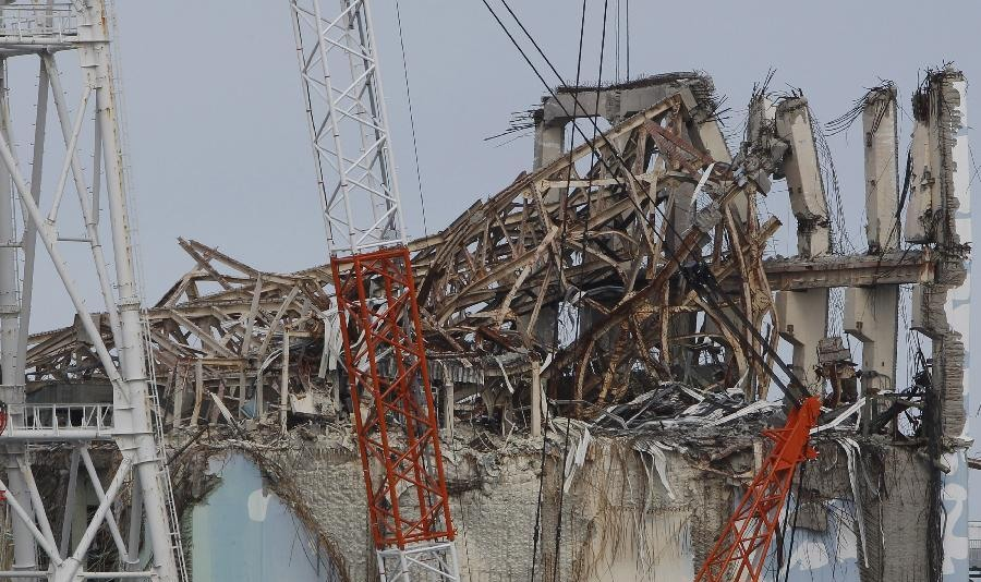 Photo taken on Feb. 20, 2012 shows destroyed No.3 reactor building of Tokyo Electric Power Co. (TEPCO)'s tsunami-crippled Fukushima Daiichi nuclear power plant in Fukushima prefecture, Japan.